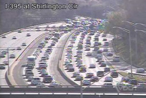 Backups on I-395 caused by 4/1/10 crash