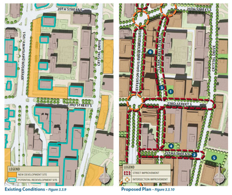 Planned transportation changes from the 2010 Crystal City Sector Plan