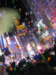 New Year's celebration in Times Square (by Dave Hunt)
