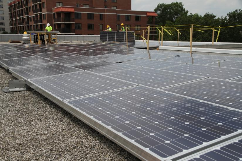Solar Panel Installation At Arlington Central Library