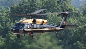 Military helicopter landing at the Pentagon