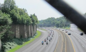 A 9/11 memorial motorcycle ride makes its way down I-66 (photo courtesy edobson22207)
