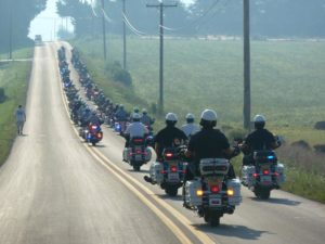 Police escort of 2010 America's 9/11 Foundation Memorial Ride (photo via Facebook)