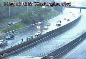 Rainy accident on I-395 at Washington Boulevard (file photo)