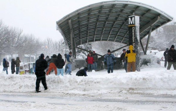 Snowball fight in front of the Clarendon Metro station on Feb. 6, 2010