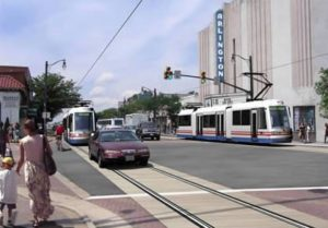 Original Columbia Pike streetcar rendering. The streetcar plan has since been scrapped.