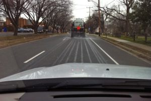 Arlington County crews pretreating S. Glebe Road with brine (file photo)