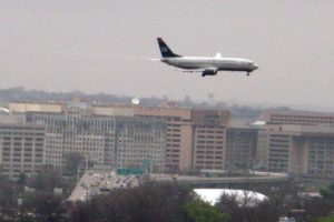 US Airways jetliner on approach to Reagan National Airport