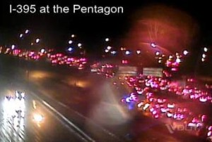 HOV lanes of I-395 blocked near Pentagon during car fire