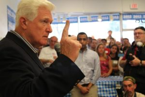 Rep. Jim Moran speaks at an Obama campaign event in April.