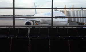 United plane at the gate at Reagan National Airport