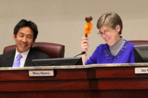 "County Board Chair Mary Hynes' chair was ""yarn bombed"""