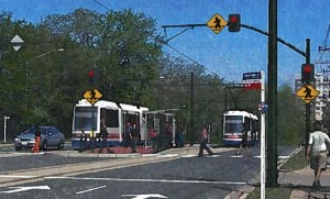Rendering of a streetcar along Columbia Pike