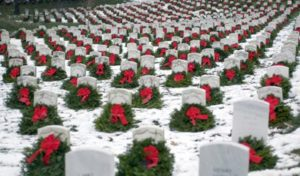 Wreaths at Arlington National Cemetery (via WreathsAcrossAmerica.org)