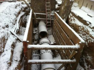 "Repairs to a 30"" water main (photo via Arlington DES)"