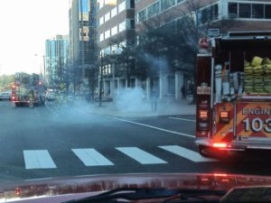 Smoke from Ballston Metro grate (photo courtesy @CAPT258)