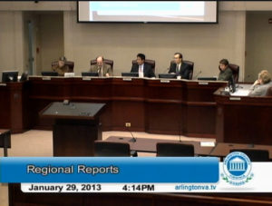 Screen grab of County Board discussing Gov. McDonnell's tranportation plan