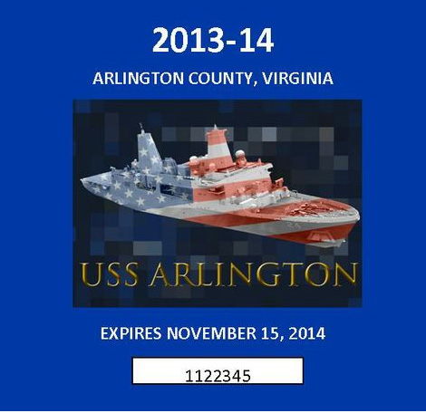 Arlington County 2013-2014 vehicle decal