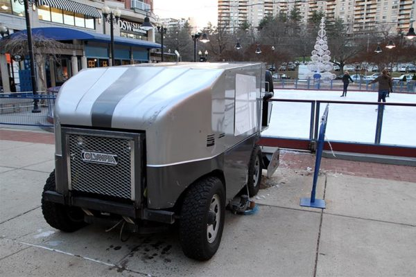 An ice resurfacer at the Pentagon Row ice rink