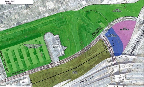 Illustration of future land exchange between Arlington County and the U.S. Army