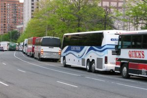 Tour buses in front of Pentagon City mall