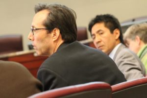 County Board members Jay Fisette and Walter Tejada at a budget presentation on Feb. 20, 2013