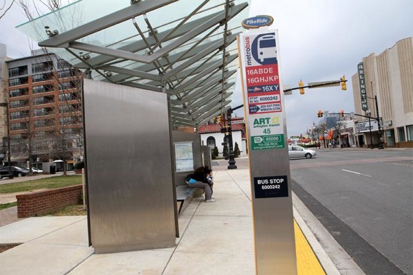 "Prototype ""Super Stop"" bus stop at Columbia Pike and Walter Reed Drive"