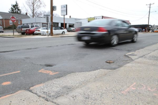 Patched-up section of road on Columbia Pike