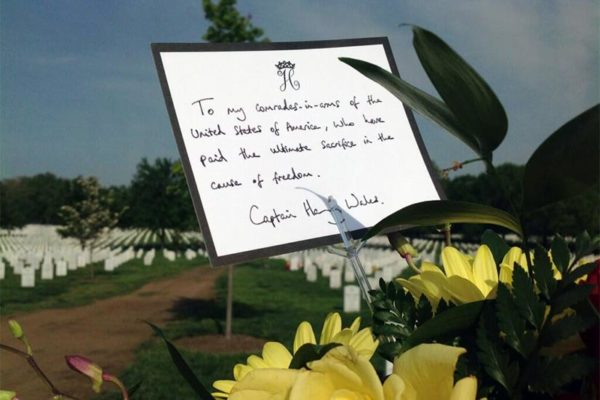 Note left by Prince Harry in Section 60 of Arlington National Cemetery