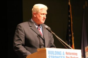 Rep. Jim Moran, speaking at a panel discussion on immigration at Kenmore Middle School