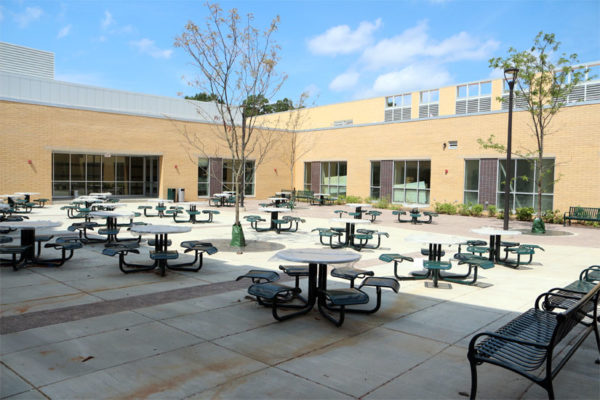 The courtyard in the center of Wakefield High School