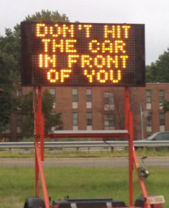 Electronic sign at Washington Blvd and Route 50