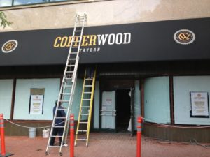 Copperwood Tavern under construction in Shirlington (photo via Facebook)