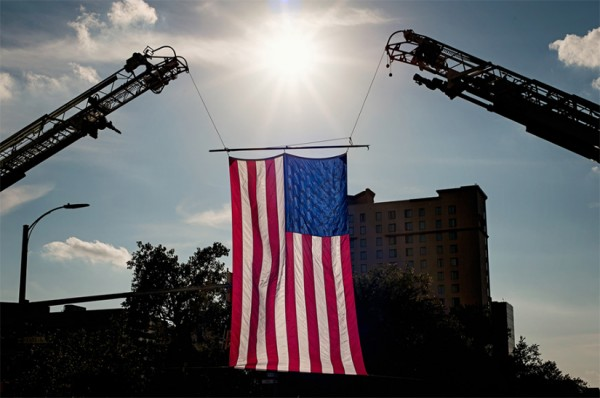 Flag at Saturday's 9/11 Memorial 5K race (photo by maryva2)