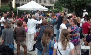 Salsa dancing at Crystal City's Sip and Salsa event on Sunday