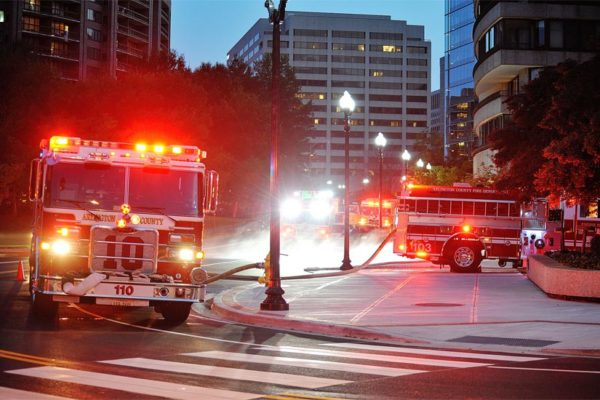 Arlington firefighters respond to a minor trash fire at the Waterford condominium the night of Sunday, Sept. 2, 2013 (Flickr pool photo by Maryva2)