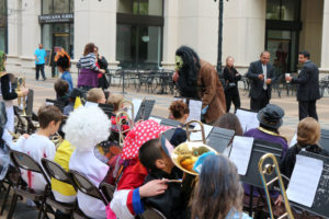 Elementary schoolers trick-or-treat in Courthouse