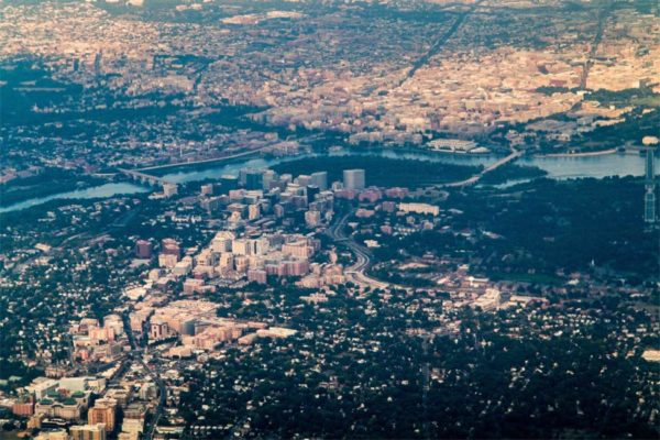 Aerial photo of Arlington, seen on approach to DCA (Flickr photo by Ddimick)