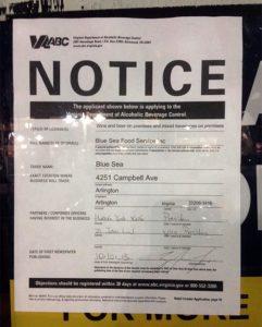 Virginia ABC permit for Blue Sea Cajun Restaurant and Bar (courtesy photo)