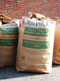 Leaf collection bags (photo via Arlington County website)