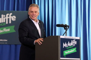 Terry McAuliffe campaigns at Washington-Lee High School