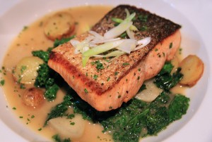 Pan seared Steelhead at Water & Wall restaurant in Virginia Square
