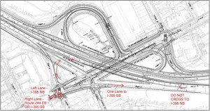 Traffic pattern change at the Columbia Pike/Washington Boulevard interchange