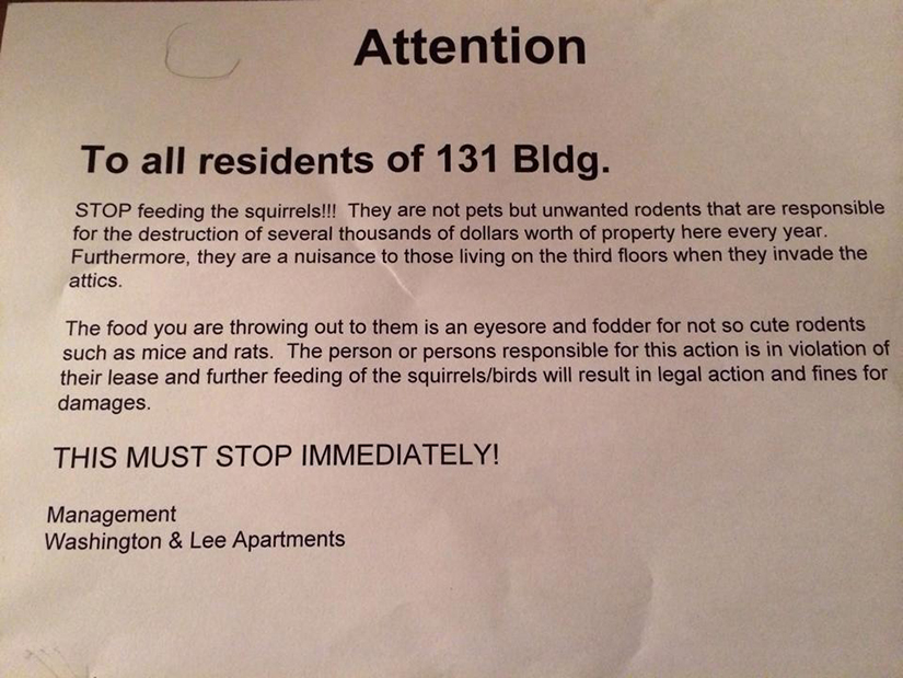 Flyer Distributed To Residents At Washington Lee Apartments