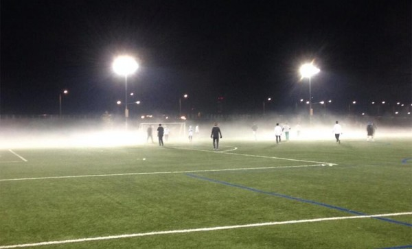 Foggy soccer game at Long Bridge Park (photo courtesy @flyidca)