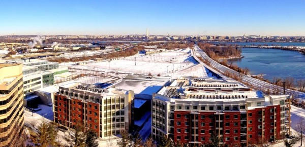 Snowy Long Bridge Park and the D.C. skyline as seen from Crystal City (Flickr pool photo by Joseph Gruber)