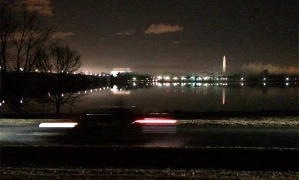 View of Washington, D.C. from the side of the GW Parkway at night