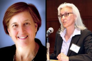School Board candidates Nancy Van Doren (L) and Barbara Kanninen (R)