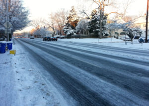 Washington Blvd covered in ice on 1/3/2014