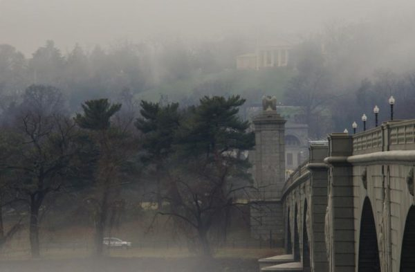 Foggy Arlington National Cemetery and Memorial Bridge (Flickr pool photo by Wolfkann)